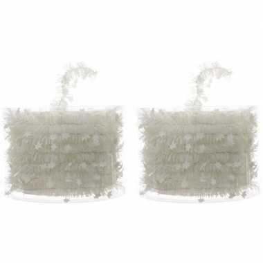 2x witte kerstboom folie slingers met ster 700 cm
