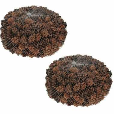 2x zakjes decoratie dennenappeltjes bruin 300 gram 3 cm herfststukje/kerststukje maken