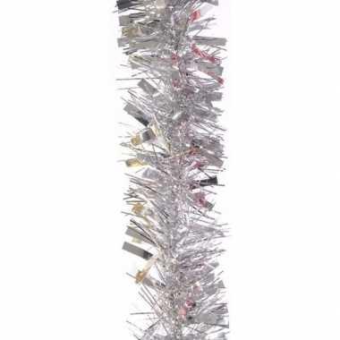 2x zilveren kerstboomslinger 200 cm