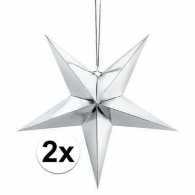 2x zilveren sterren kerstdecoratie 30 cm