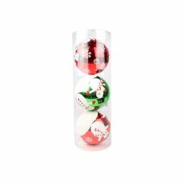3 kerstballen met sneeuwman 15 cm