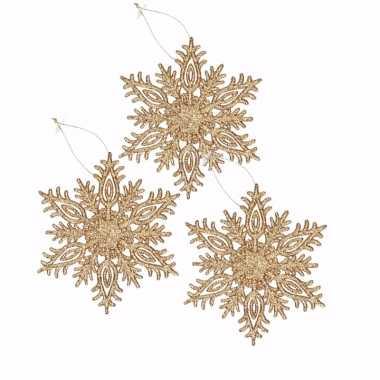 3 kerstboomhangers sneeuwvlok goud glitters type 3