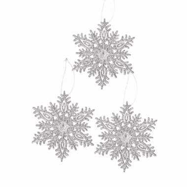 3 kerstboomhangers sneeuwvlok zilver glitters type 3