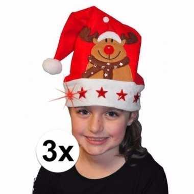 3 kerstmutsen met licht en versiering voor kinderen