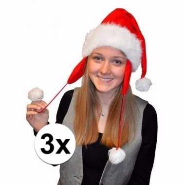 3 kerstmutsen rood met oorflappen voor volwassenen