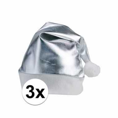 3 zilveren kerstmutsen voor volwassenen