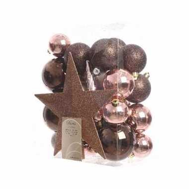 33-delige kerstballen set bruin/roze