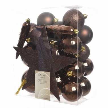 33-delige kerstballen set bruin