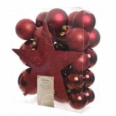33-delige kerstballen set donkerrood