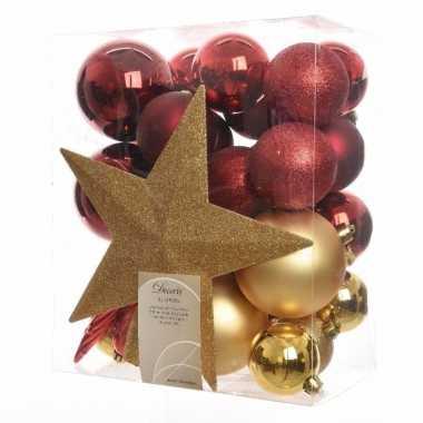 33 Delige Kerstballen Set Goud Rood Kerst Man Nl