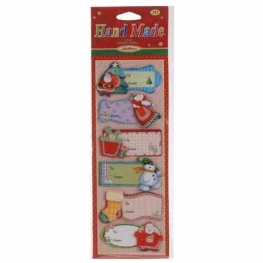 3d Kerst Cadeau Naamstickers 6 Stuks Type 3