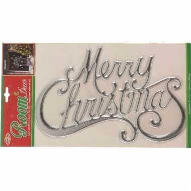 3d kerstversiering merry christmas sticker zilver 30 x 42 cm