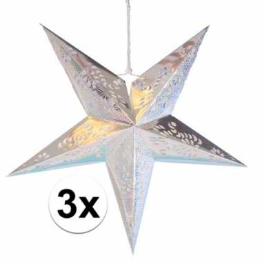 3x decoratie kerst sterren zilver 60 cm