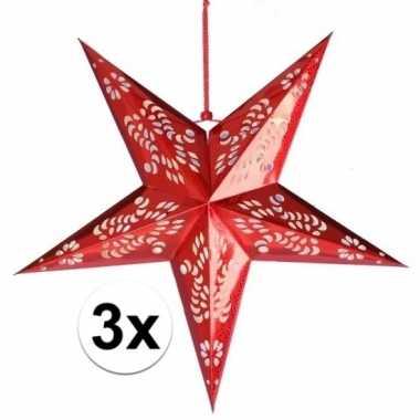 3x decoratie kerstster rood van 60 cm