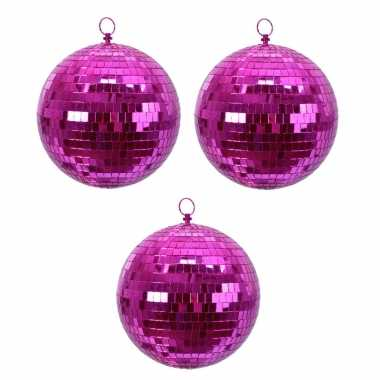 3x fuchsia roze spiegelballen disco kerstballen 8 cm