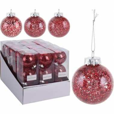 3x glitter kerstballen rood 8 cm kunststof kerstboom versiering/decoratie