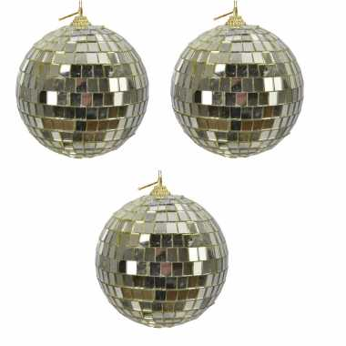 3x gouden spiegelballen disco kerstballen 10 cm