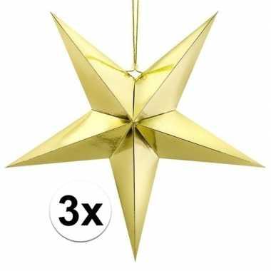3x gouden sterren kerstdecoratie 30 cm