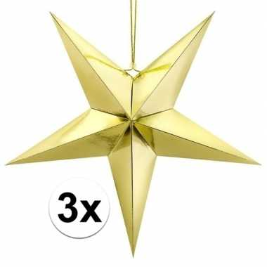 3x gouden sterren kerstdecoratie 70 cm
