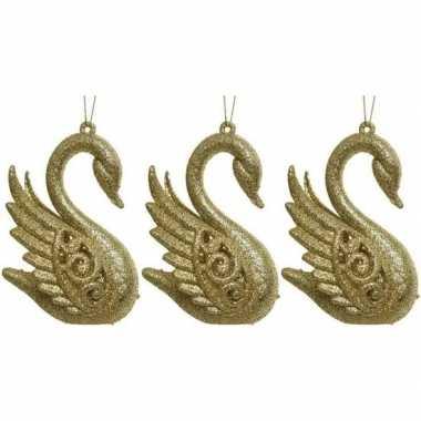 3x gouden zwanen kerstornamenten kersthangers 10 cm