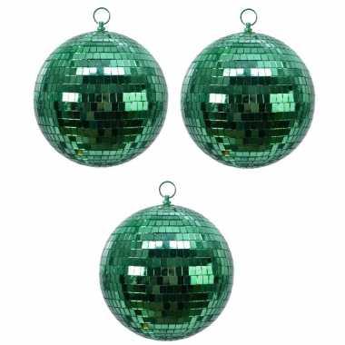 3x groene spiegelballen disco kerstballen 8 cm
