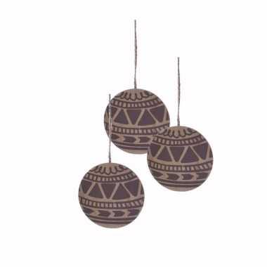 3x kerst hangdecoratie platte schijf van hout met print 8 cm
