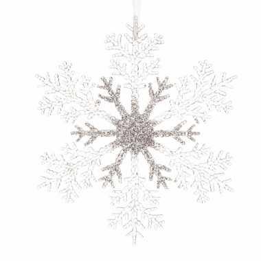 3x kerstboomdecoratie hanger sneeuwvlok zilveren glitters 21 cm