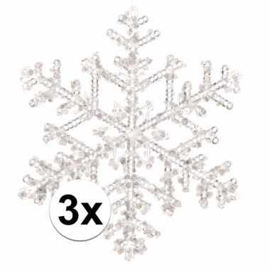 3x kerstboomdecoratie hangers sneeuwvlokken transparant 18 cm