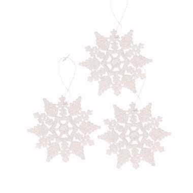 3x kerstboomhanger glitter sneeuwvlok wit type 2