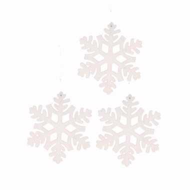 3x kerstboomhanger sneeuwvlok wit type 1