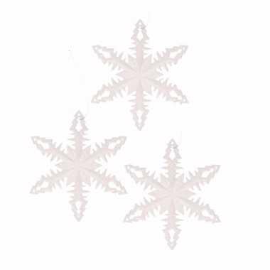 3x kerstboomhanger sneeuwvlok wit type 2