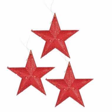 3x kerstboomhanger ster rood 10 cm