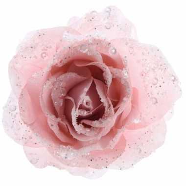 3x kerstdecoratie roos poeder roze op clip