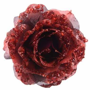 3x kerstdecoratie roos rood op clip