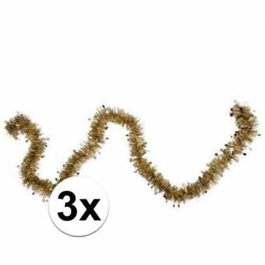 3x kerstslinger / folieslinger goud 8 cm x 2 m