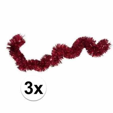 3x kerstslinger / folieslinger rood 15 cm x 2 m