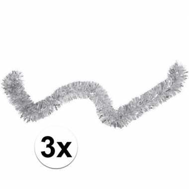3x kerstslinger / folieslinger zilver 15cm x 2 m