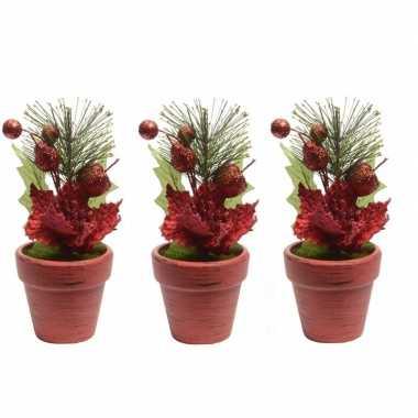 3x kerstster rood fluweel in pot 16 cm
