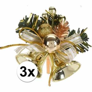 3x kerststukje decoratie goud 8 cm