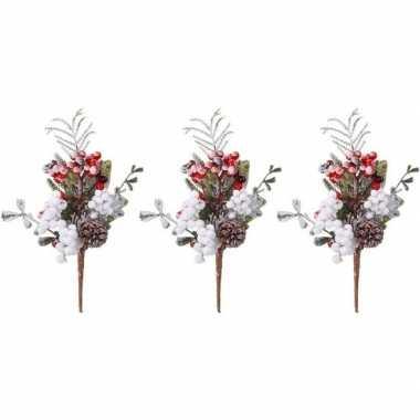 3x kerststukje instekertjes met bessen en sneeuw 20 cm