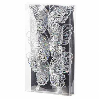 3x kerstversieringen vlinders op clip glitter zilver 11 cm