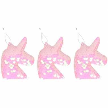 3x kinder kersthangers pailletten eenhoorn roze