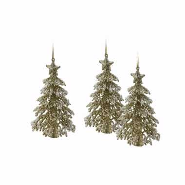 3x mini kerstboom kersthanger goud met glitters 16 cm