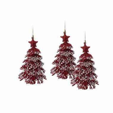 3x mini kerstboom kersthanger rood met glitters 16 cm
