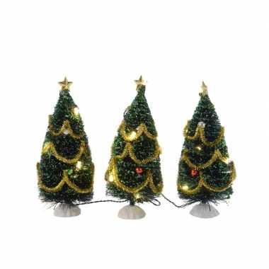 3x mini kerstboompjes met lichtjes