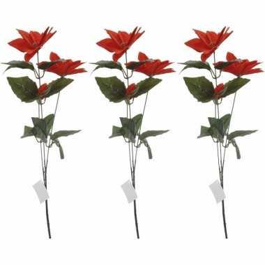 3x rode kerstbloem 66 cm