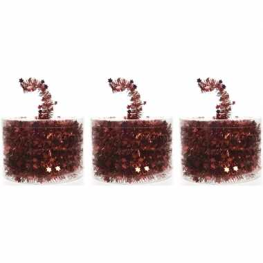 3x rode kerstboomslingers 700 cm
