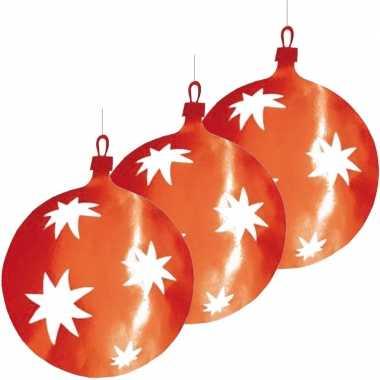 3x stuks kerstballen hangdecoratie rood 40 cm van karton