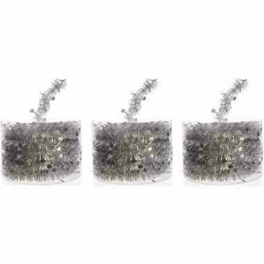 3x zilveren kerstboomslingers 700 cm