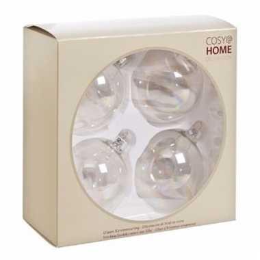 4-delige kerstballen transparant van glas